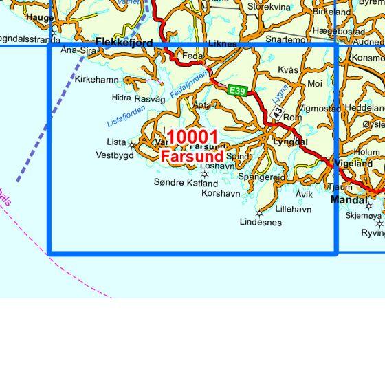 Kartenabdeckung fürt Farsund karte