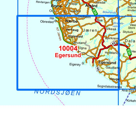 Map area for Egersund  map