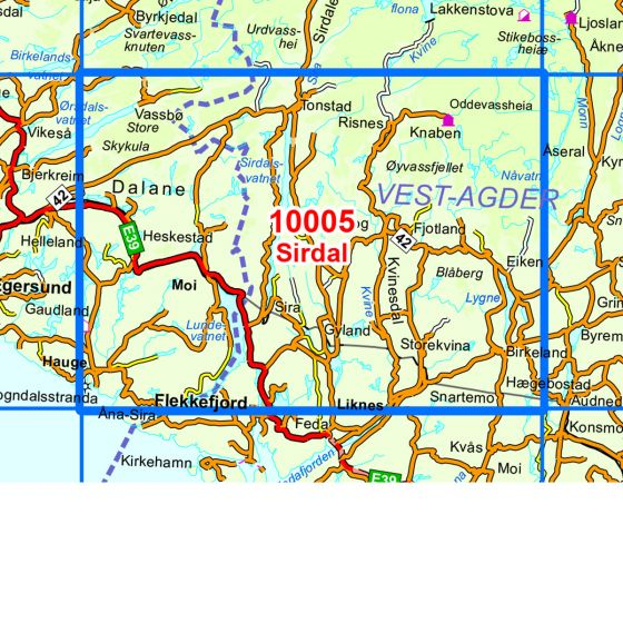 Map area for Sirdal  map