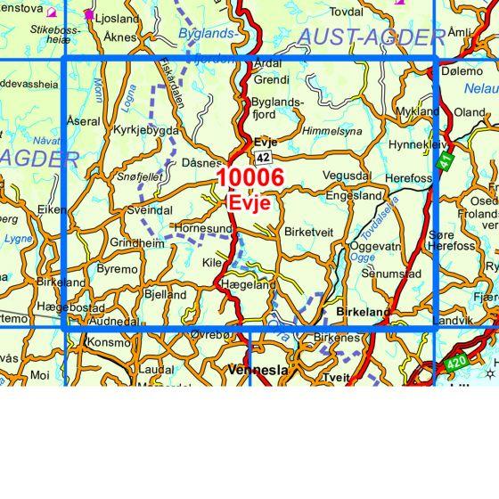 Dekningsområdet Evje kartet