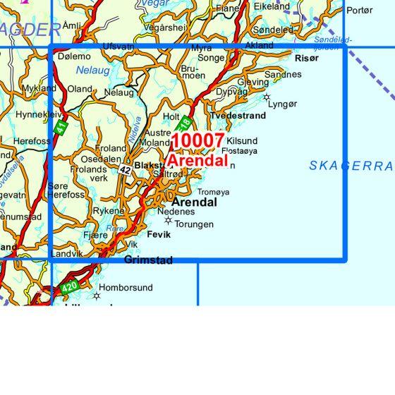 Dekningsområdet Arendal kartet