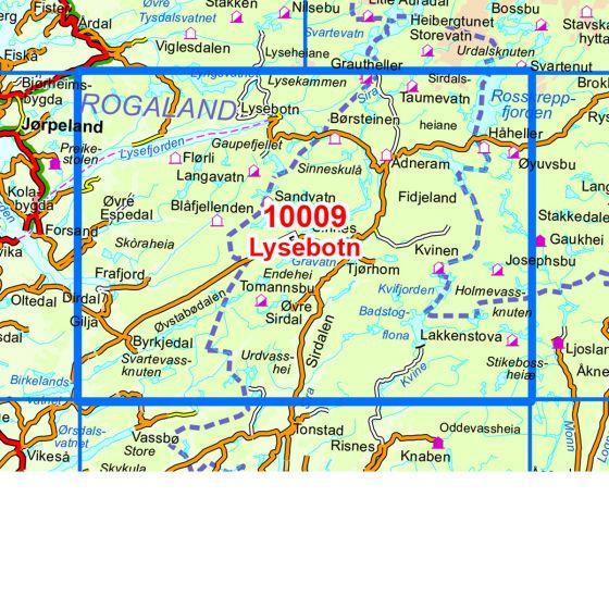 Dekningsområdet Lysebotn kartet