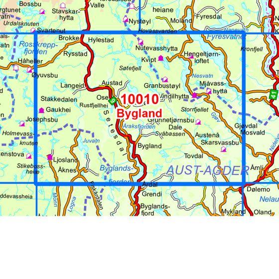 Dekningsområdet Bygland kartet