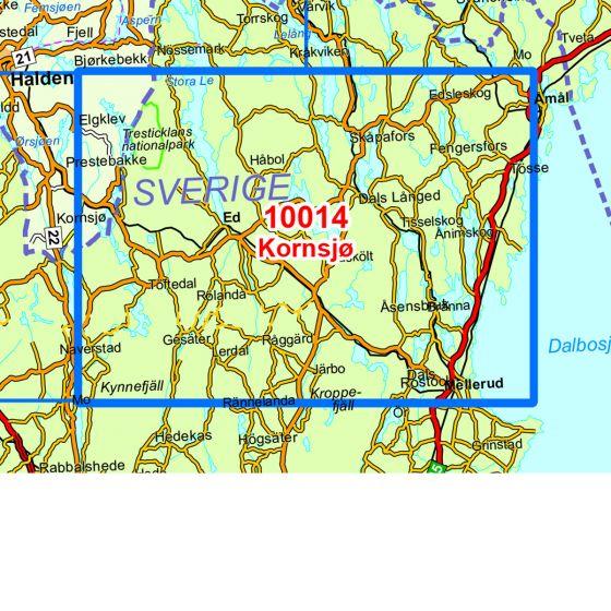 Kartenabdeckung fürt Kornsjø karte