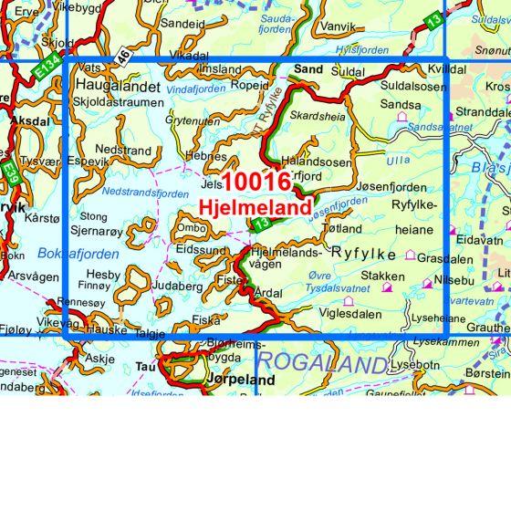 Map area for Hjelmeland  map