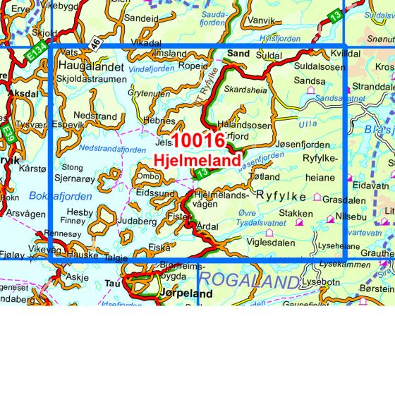 Kartenabdeckung fürt Hjelmeland karte