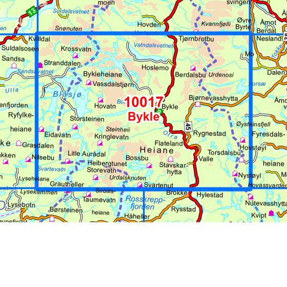 Dekningsområdet Bykle kartet