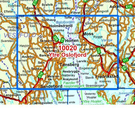 Kartenabdeckung fürt Ytre Oslofjord karte
