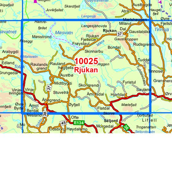 Kartenabdeckung fürt Rjukan karte
