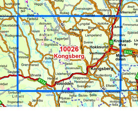 Kartenabdeckung fürt Kongsberg karte