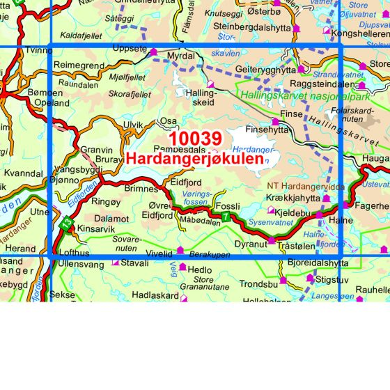 Kartenabdeckung fürt Hardangerjøkulen karte