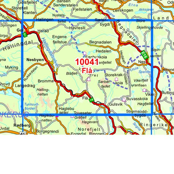 Map area for Nesbyen  map