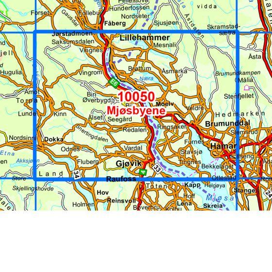 Kartenabdeckung fürt Mjøsbyene karte