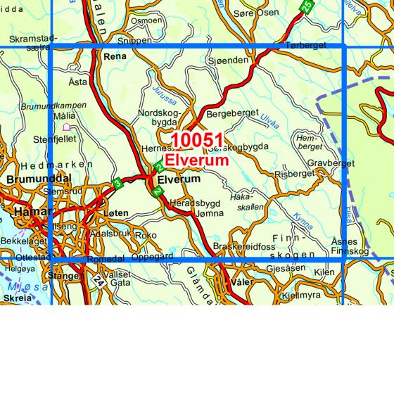 Map area for Elverum  map