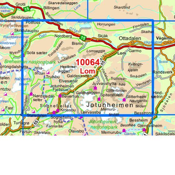Dekningsområdet Lom kartet