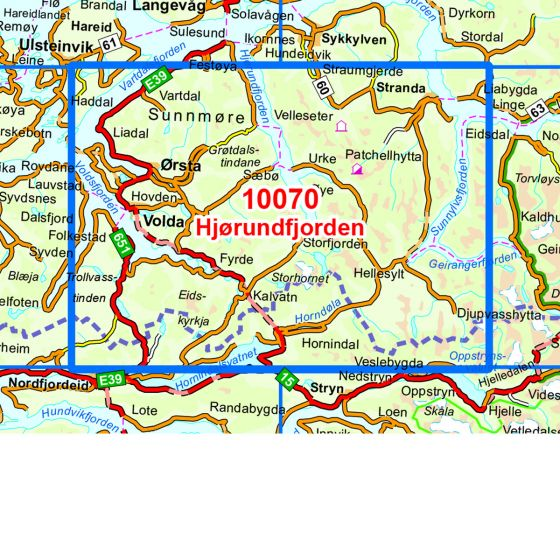 Kartenabdeckung fürt Hjørundfjorden karte