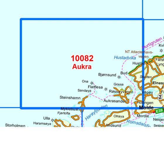 Dekningsområdet Aukra kartet