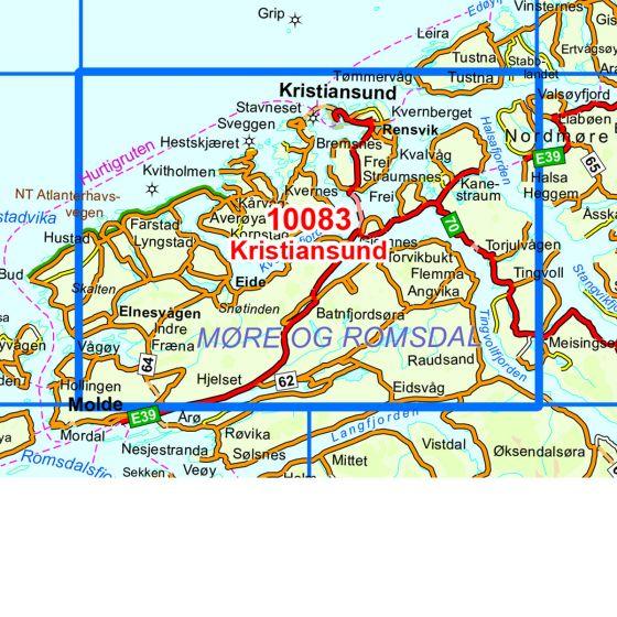 Dekningsområdet Kristiansund kartet