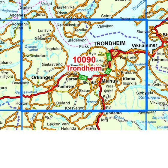 Kartenabdeckung fürt Trondheim karte