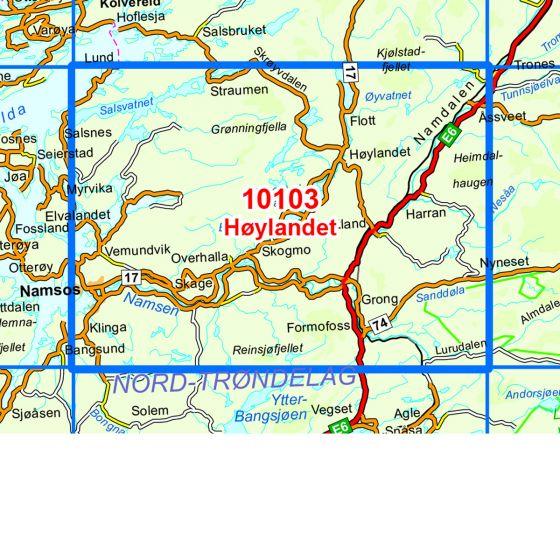 Kartenabdeckung fürt Høylandet karte