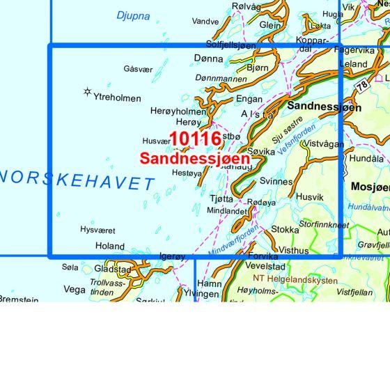 Kartenabdeckung fürt Sandnessjøen karte