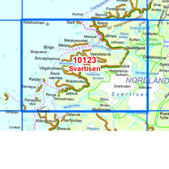 Kartenabdeckung fürt Svartisen karte