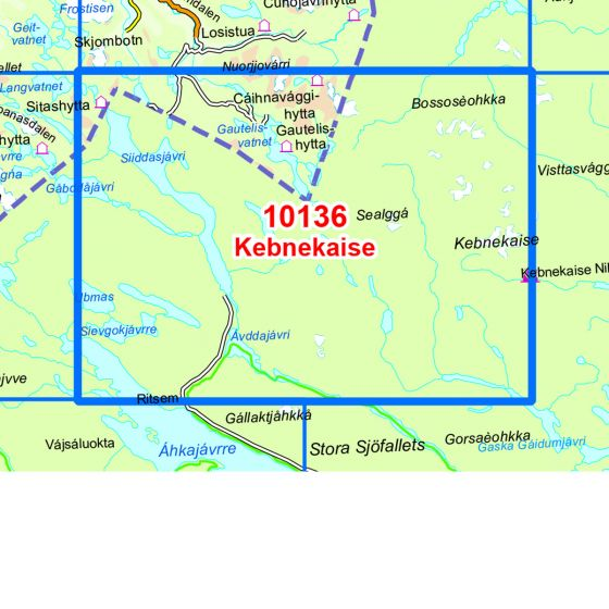 Map area for Kebnekaise  map