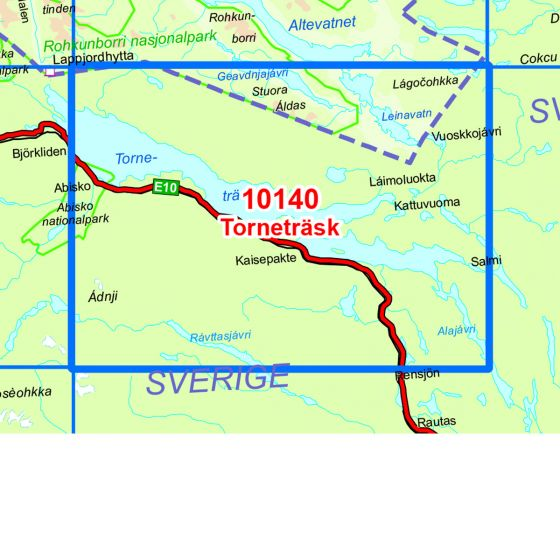 Map area for Torneträsk  map