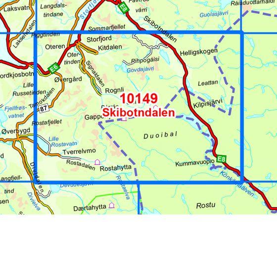 Map area for Skibotndalen  map