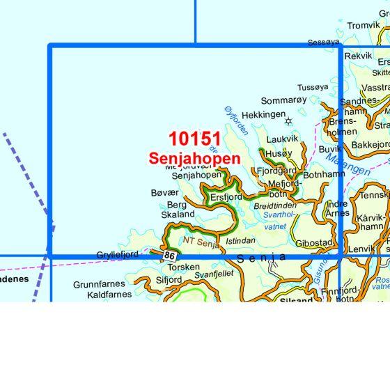 Kartenabdeckung fürt Senjahopen karte