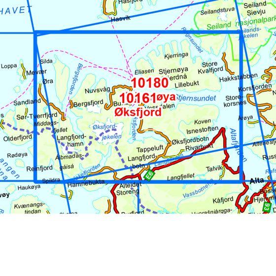 Kartenabdeckung fürt Øksfjord karte