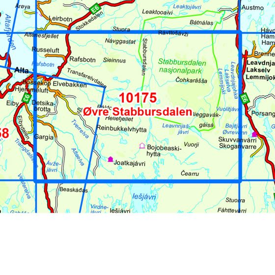 Map area for Øvre Stabbursdalen  map
