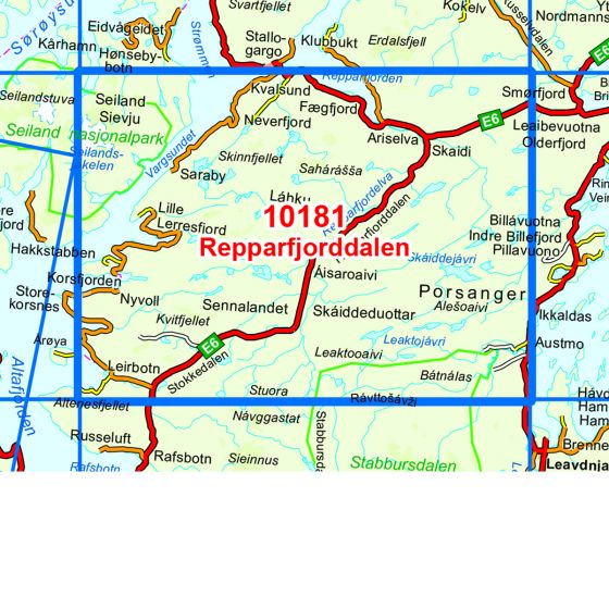 Kartenabdeckung fürt Repparfjorddalen karte