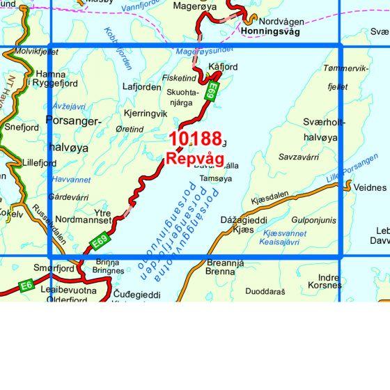 Dekningsområdet Repvåg kartet
