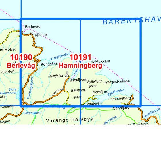 Dekningsområdet Hamningberg kartet