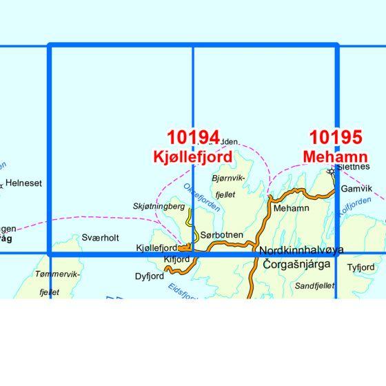 Kartenabdeckung fürt Kjøllefjord karte
