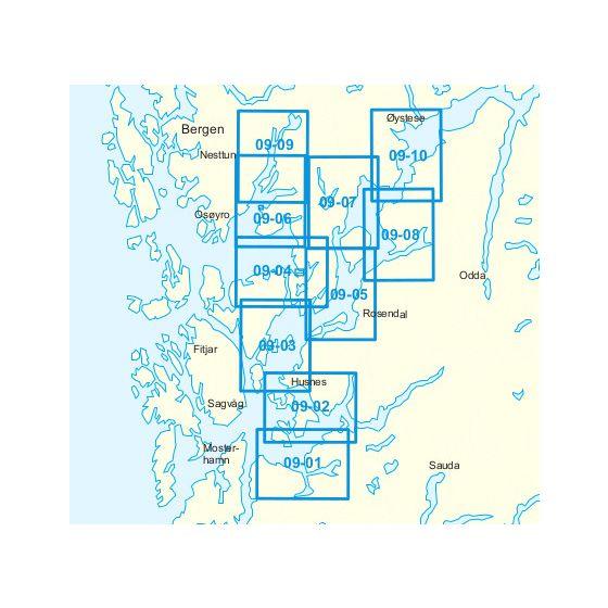 Dekningsområdet 09-Ølen-Bjørnafjorden-Norheimsund kartet