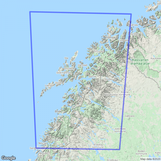 Kartenabdeckung fürt Straßenkarte Nord-Norge Sør karte