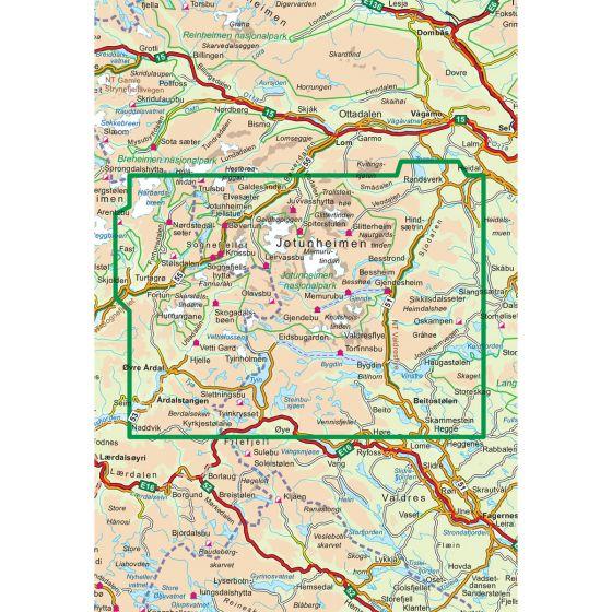 Kartenabdeckung fürt Jotunheimen 1:100 000 karte