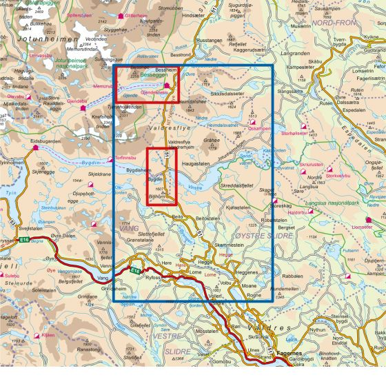 Map area for Beitostølen 1:50 000  map