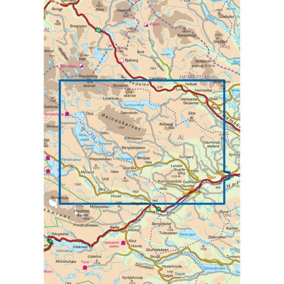Map area for Reineskarvet 1:50 000  map