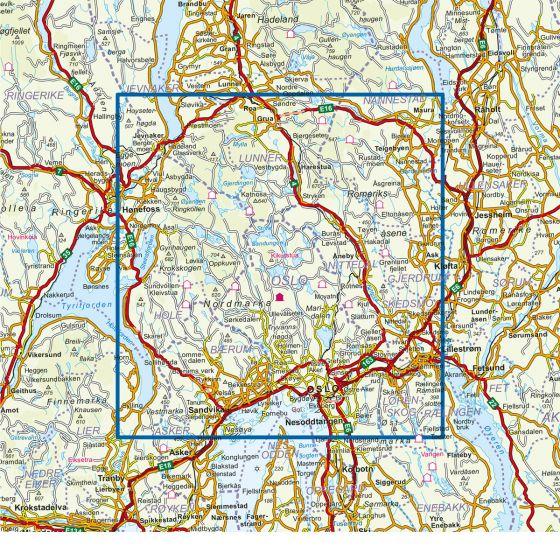 Dekningsområdet Oslo Nordmark Sommer DNT Turkart i plast kartet