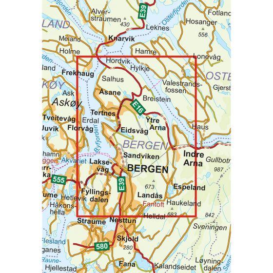 Kartenabdeckung fürt Bergen - 7-Fjellsturen 1:25 000 karte