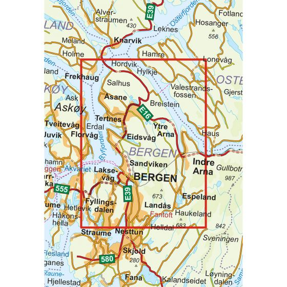 Map area for Bergen - 7-Fjellsturen 1:25 000  map