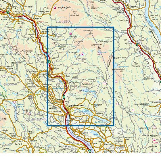 Kartenabdeckung fürt Øyer - Lillehammer 1:50 000 karte