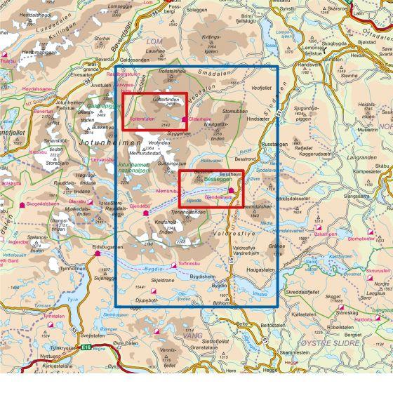 Kartenabdeckung fürt Jotunheimen Aust 1:50 000 karte