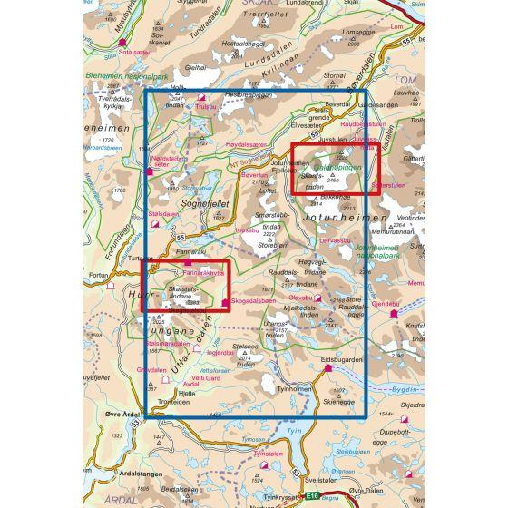 Dekningsområdet Jotunheimen Vest 1:50 000 kartet