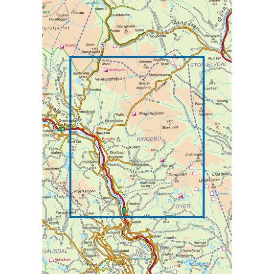 Dekningsområdet Ringebu 1:50 000 kartet
