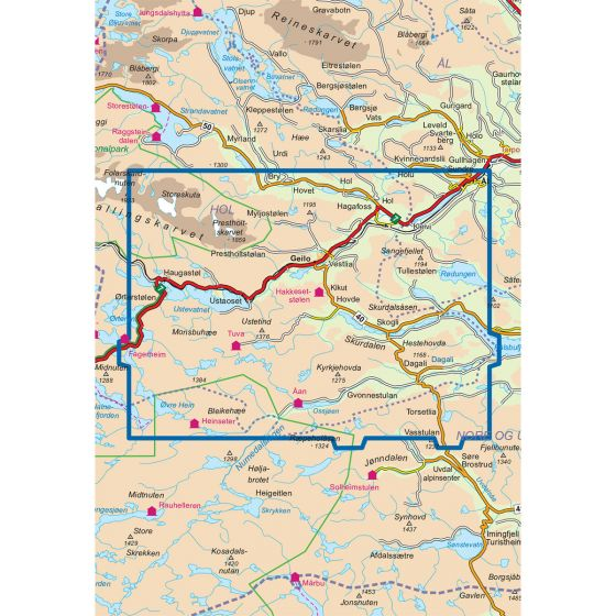 Kartenabdeckung fürt Geilo 1:50 000 karte