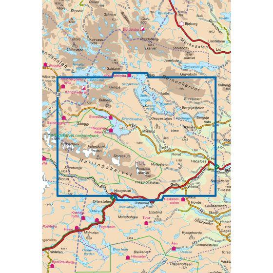 Kartenabdeckung fürt Hallingskarvet 1:50 000 karte